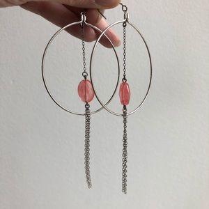 nabi Jewelry - Nabi Sterling silver & rose quartz hoop earrings